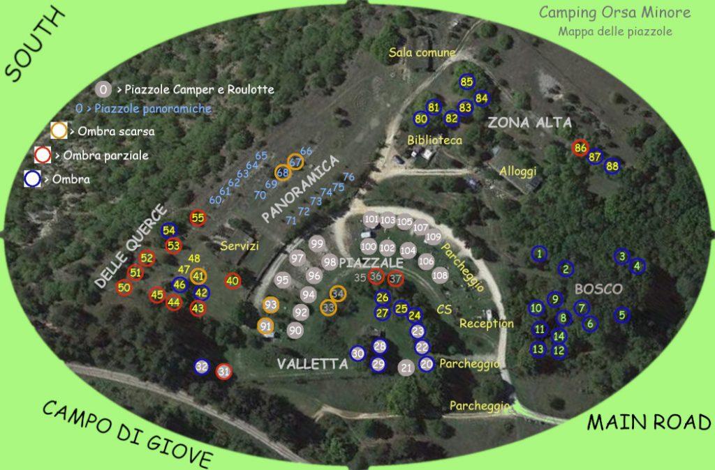 Mappa delle piazzole del Campeggio Orsa Minore con loro ubicazione e numerazione.